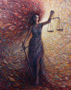 Lady of Justice - symbol of justice in abstract, iconic image fashion
