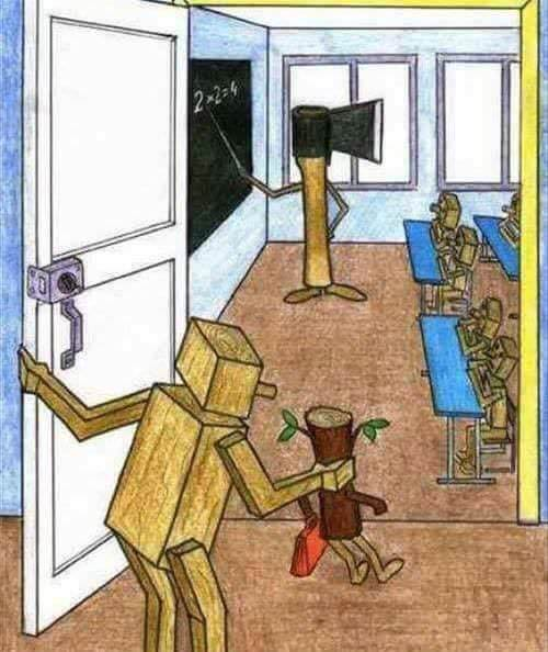 Caricature of education shaping all in the same manner.