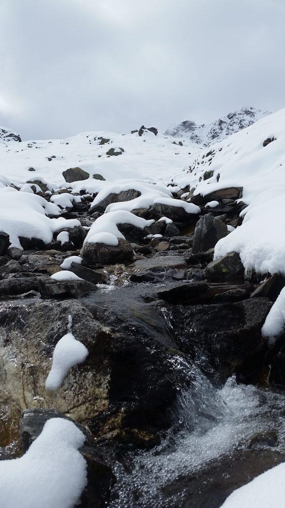 mini fresh mountain water spring in Alps