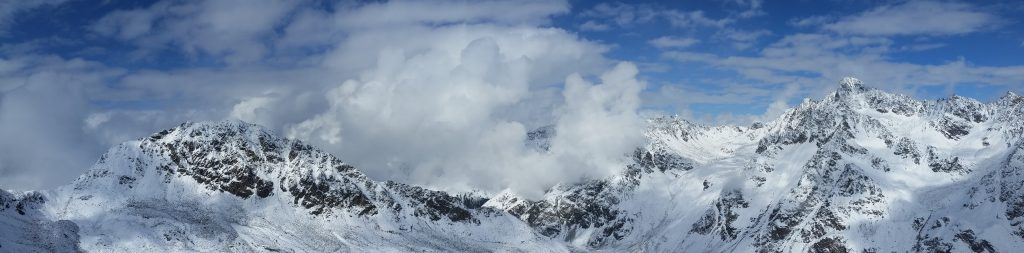 Panoramic view of Alps, with Glockturm somewhere nearby