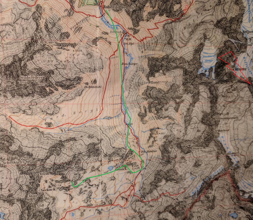 Our approximate travel route on the map of Glockturm Valley
