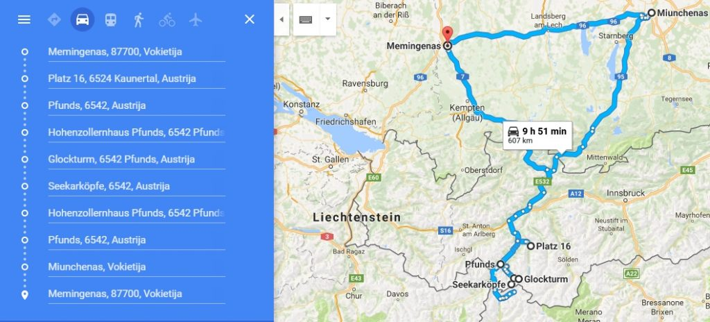 Screenshot of approximate route of the whole hike to Glockturm valley travel