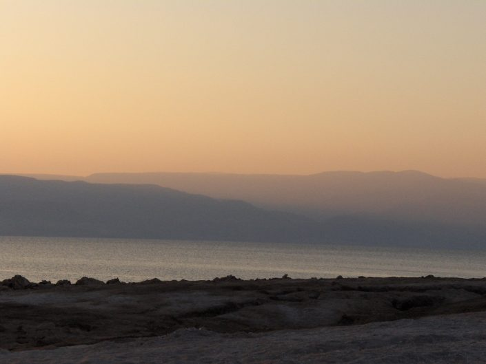 Play of colors during a sunrise at Dead Sea in Israel 2014