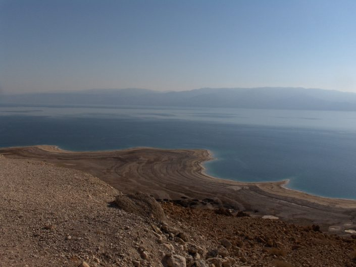 Dying Dead Sea, Israel 2014 (marks of past shore left on the ground)