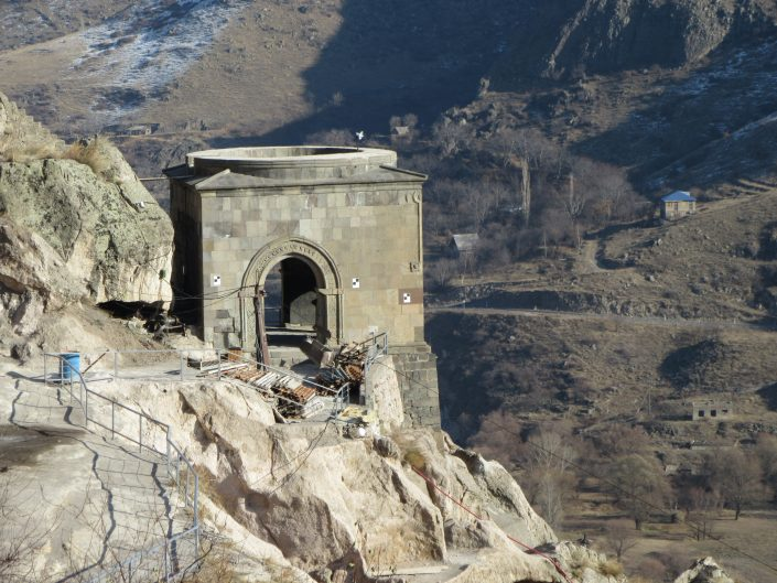 Photo from Vardzia caves in Georgia. Ancient temple like - building on the side of the moutain