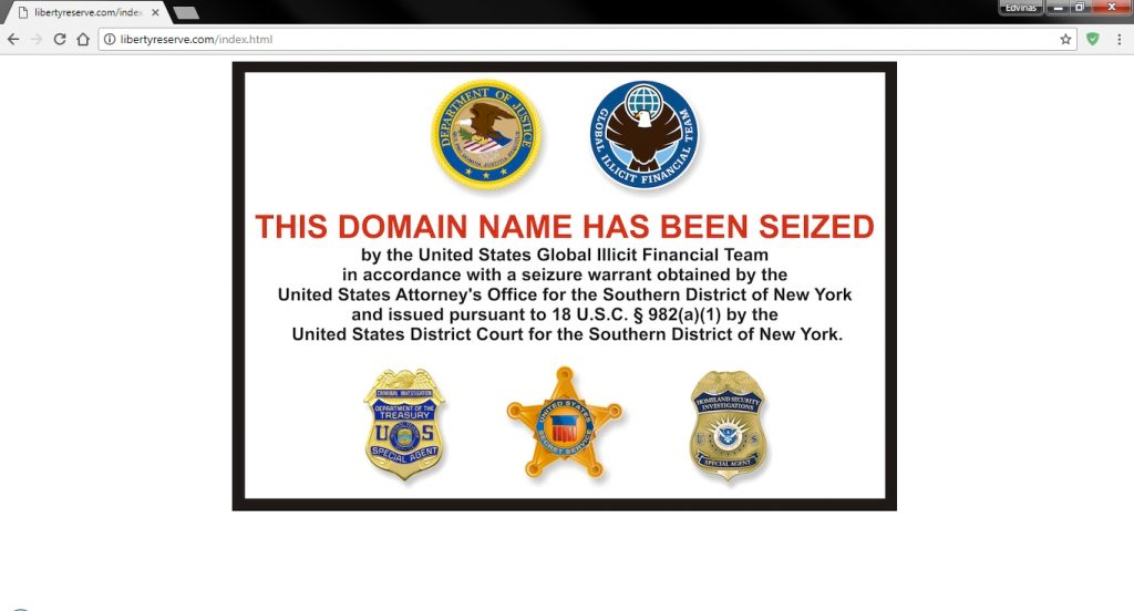 "Screenshot of google chrome with website opened of libertyreserve.com saying ""This domain name has been seized"". Image used  in article ""Fundamental case for cryptocurrencies"""