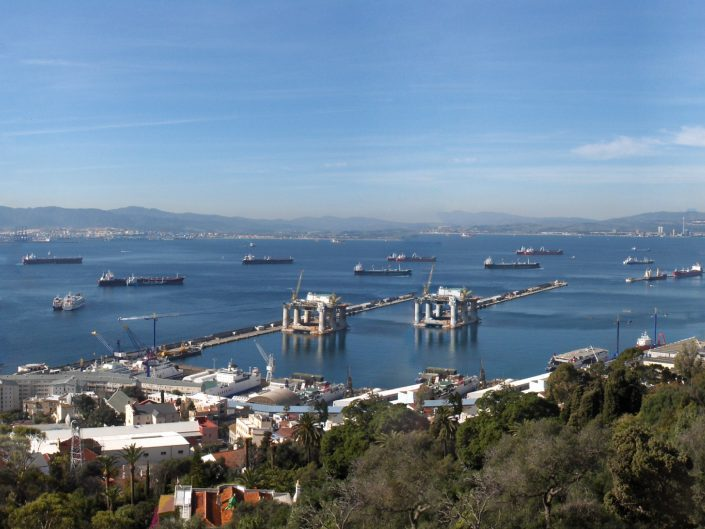 Panoramic photo of Gibraltar bay, 2012