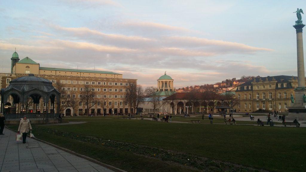Stuttgart city center in Spring evening