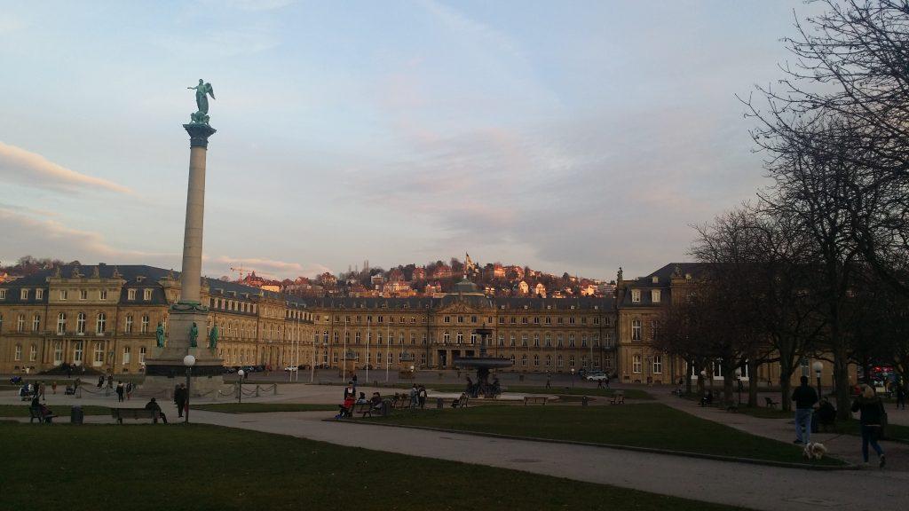 Stuttgart city center park in Spring evening