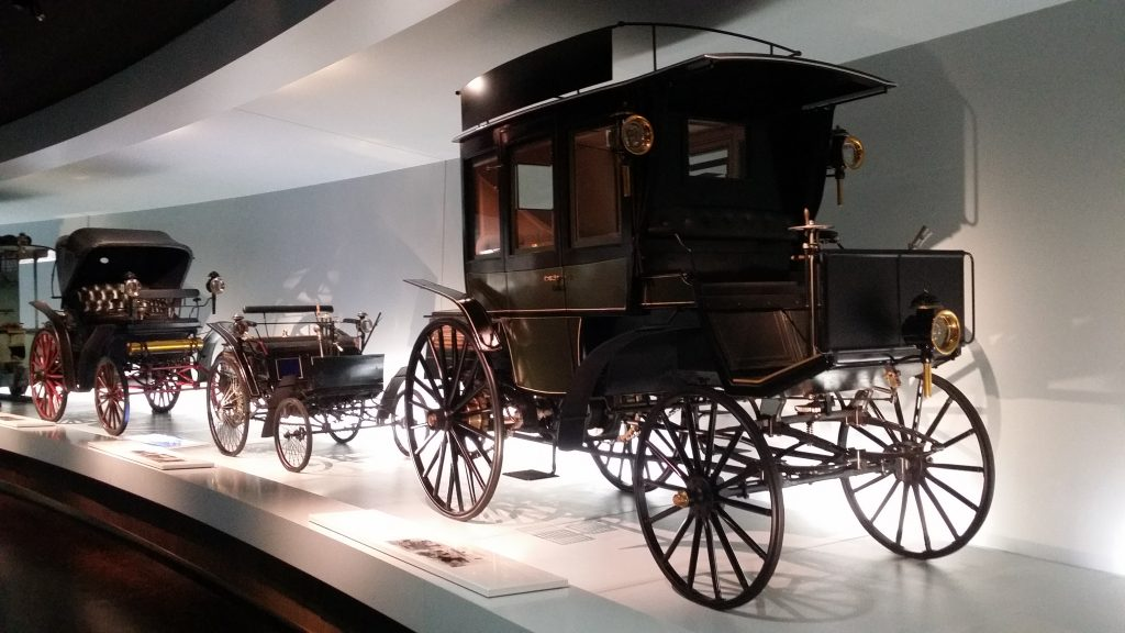 First automobiles in Mercedes-Benz Museum top floor