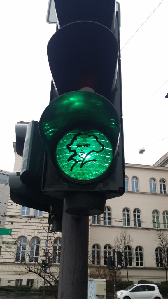 Ludwig Van Beethoven sticker on the green stoplight