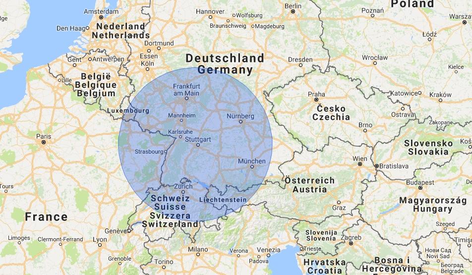 screenshot of google maps - with marked circle of around 200 km around Stuttgart