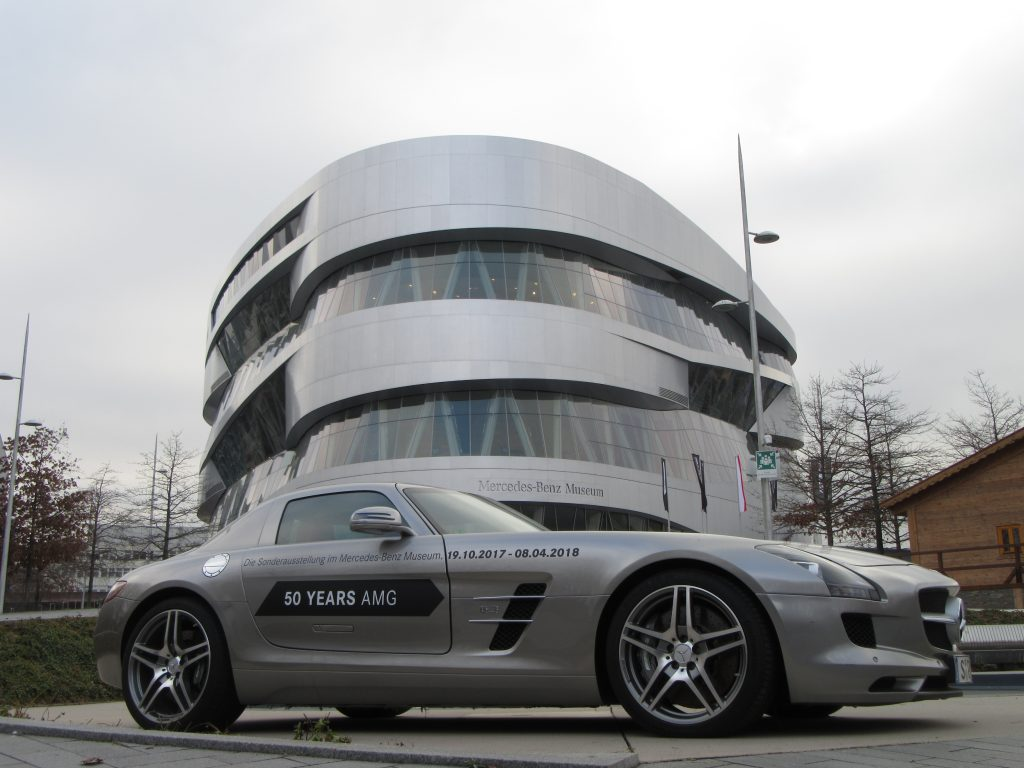The front of Mercedes-Benz Museum