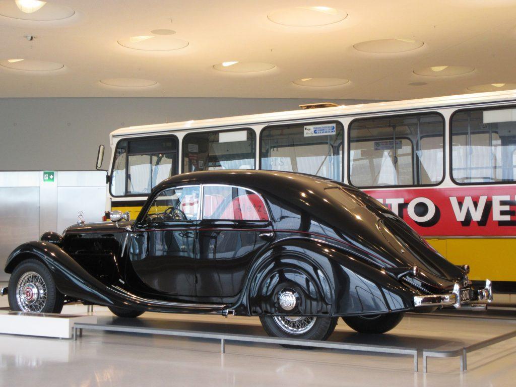 Black mob looking car at Mercedes-Benz Museum