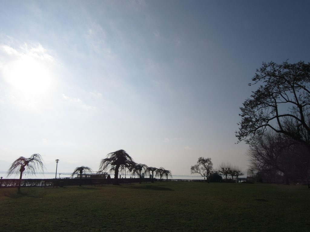 Lindau city park in early spring morning, Germany