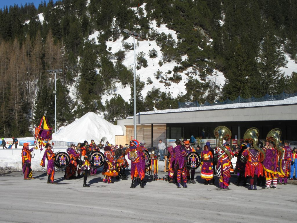 Beyond Triesenberg, a skiing camp and orchestra playing on the side of Switzerland again