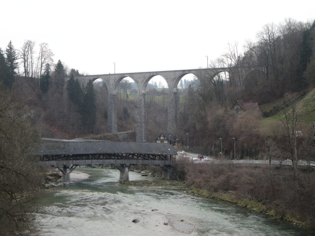 A really high railway bridge at Switzerland, near the river