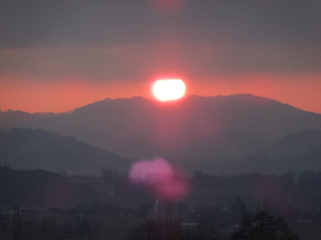 Early spring sunset in Switzerland on the way back to Leonberg