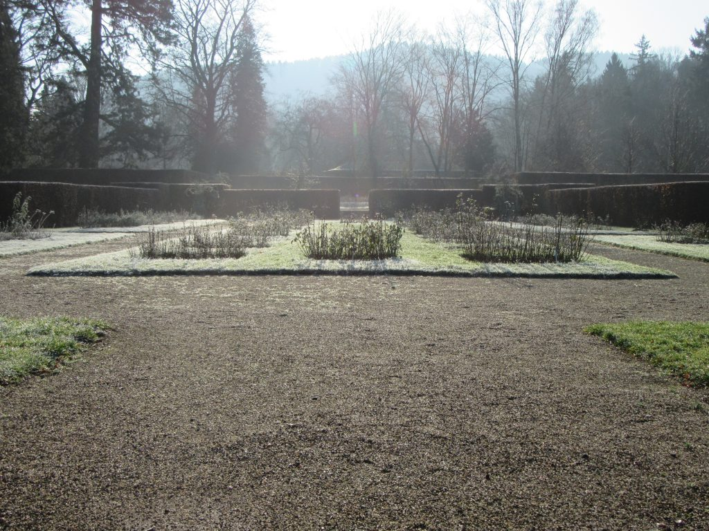 Rose park at Baden-Baden in winter sunny morning