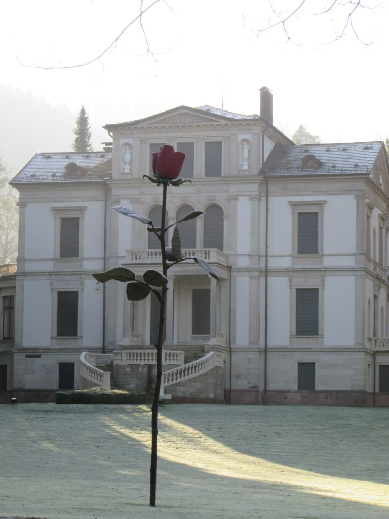 Huge rose installation at Baden-Baden in winter sunny morning