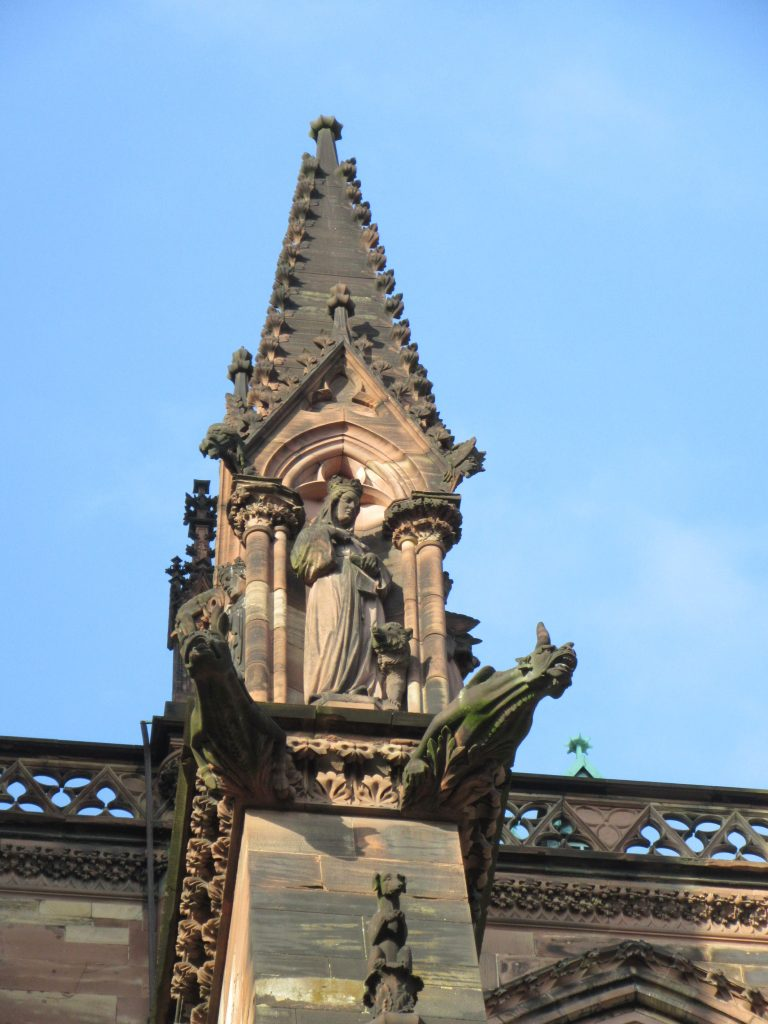 Gothic architecture details of Strasbourg Cathedral de Notre-Dame