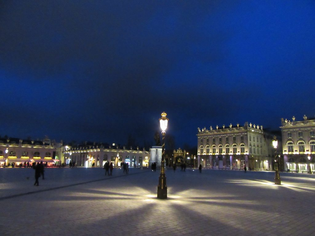 Unesco protected Stanislas Place in the night at Nancy, France