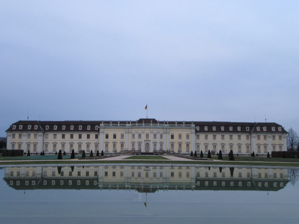 Ludwigsburg Palace from the center with a perfect reflection in the water