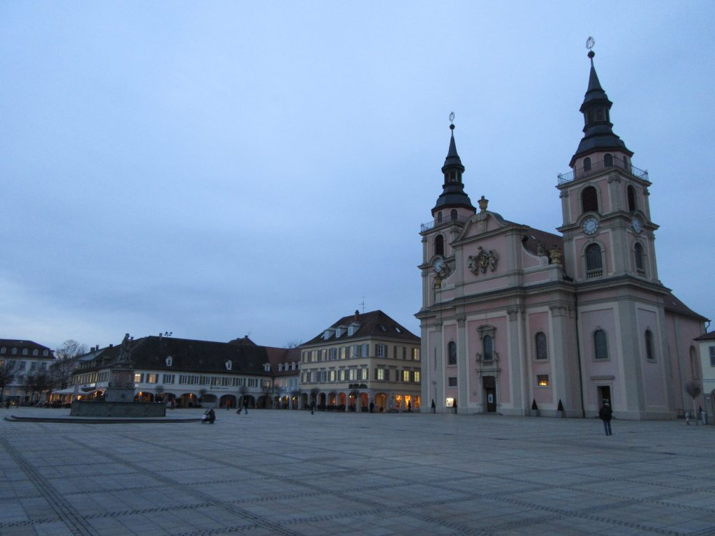 Central Ludwigsburg square with church in bright winter evening