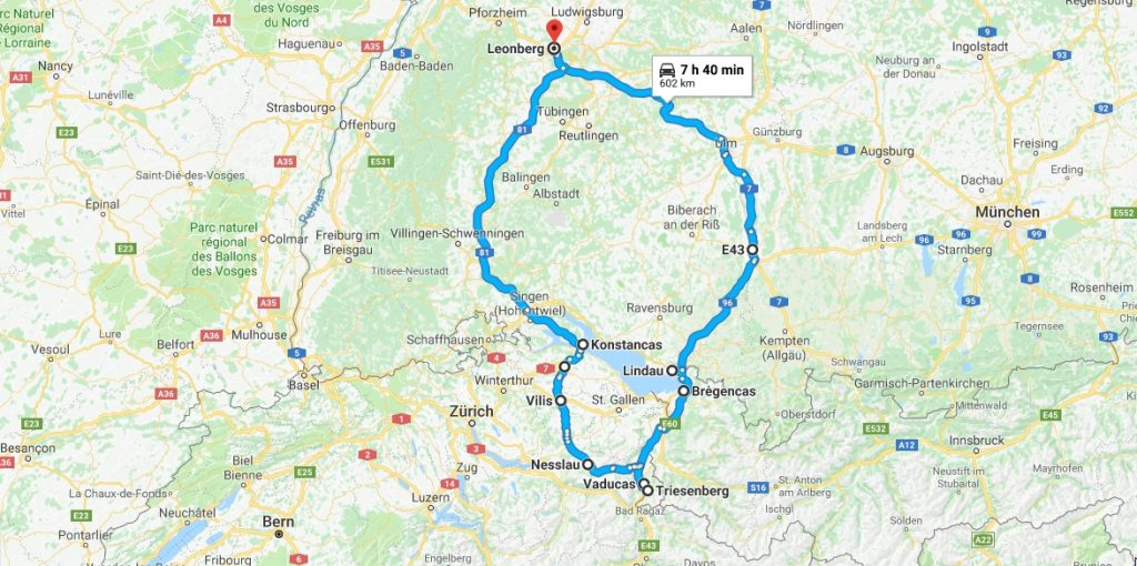 a route on a map, starting and ending at Leonburg, Germany with endpoint a bit south of Vaduz, Liechtenstein, a total 7-8 hour drive and 600 km