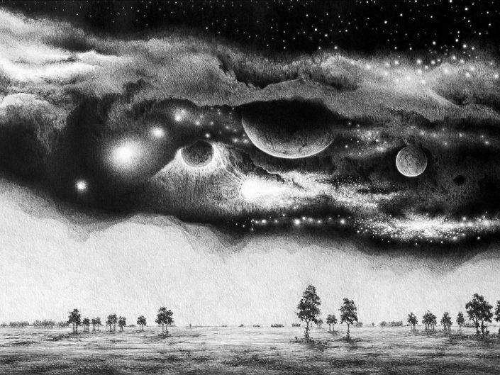 Pencil painting of Łukasz Solecki - Szczeliny z cyklu Kosmos 2015. Dark sky and apparent cosmos injecting daytime.