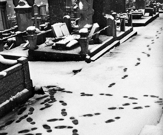 Black and white photo by Anders Petersen of footsteps in cemetery on the snow.