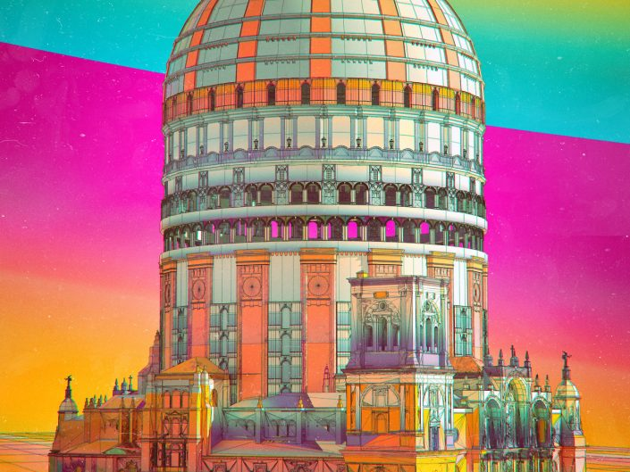Digital Artwork by Beeple - 1496 Turbo - depicting mosque in psychedelic colors