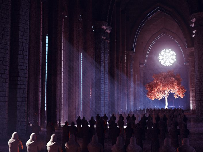 Beeple Harvest. Rows of monks in a huge church environment praying towards a tree at the front