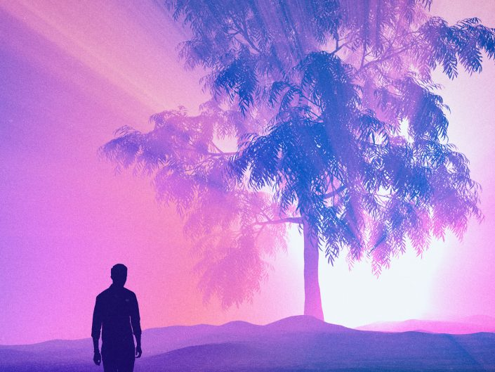 "Art work ""Pink Blue"" by Beeple. Man figure walking towards giant tree that has lights from behind it ant casting spectacular shadows of pink and blue."