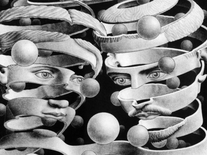 Black & White painting of cosmic female and male heads. Example of surrealism and symbolic art