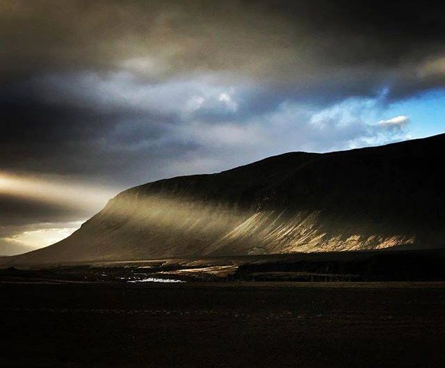 Director Darren Arnofsky caught this shot of a mountain with section of light during his travel to Iceland