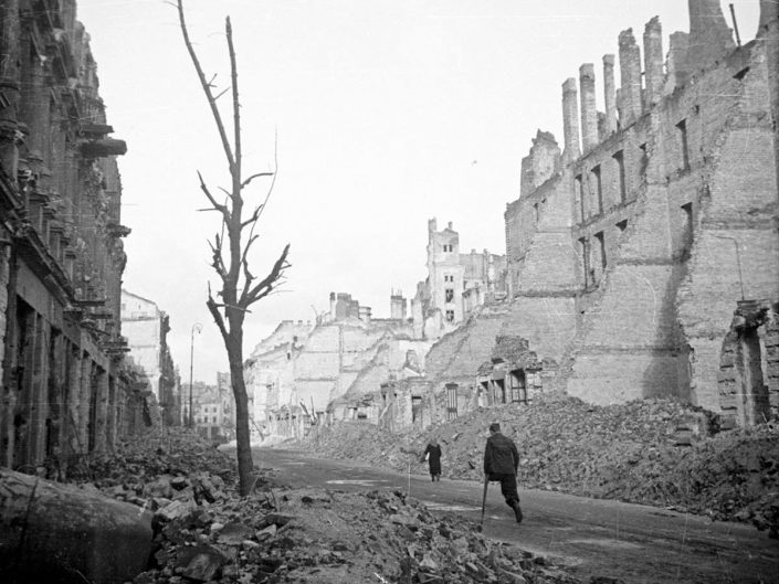 View of devastated Warsaw streets during WWII. Edward Falkowsk 1945