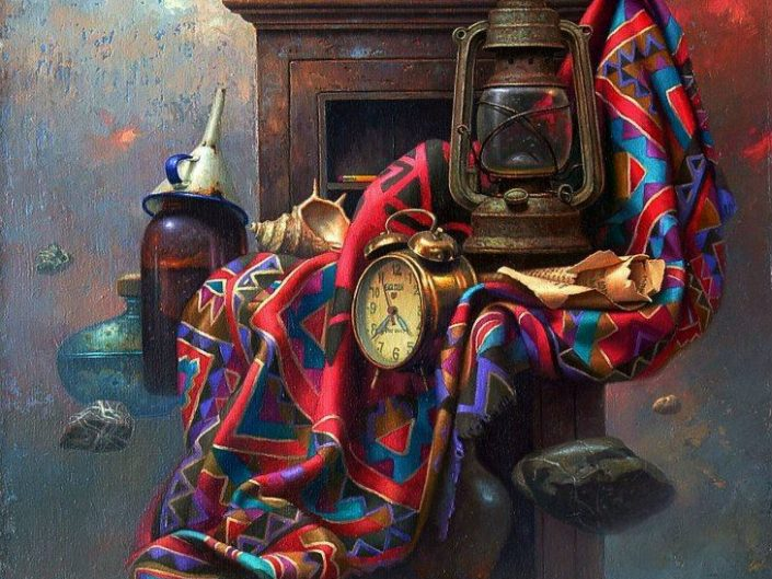 Edward Szutter - Dead Nature Cxxvi. Oil painting depicting wooden cabinet, scarf and clocks.