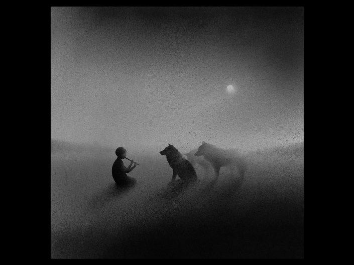 Pencil drawing, of boy playing a flute in front of two calm wolves in dark and white, foggy.