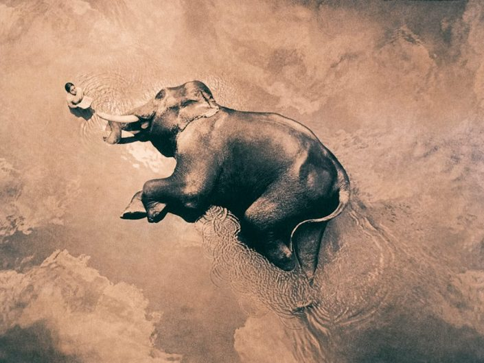 Scene from Ashes and Snow by Gregory Colbert - areal photo of an elephant lying in a secluded lake with a boy besides him. Harmony.