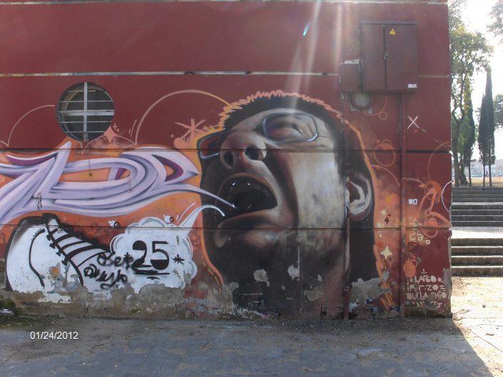 Street art painting of screaming man in Sevilla, Spain 2012