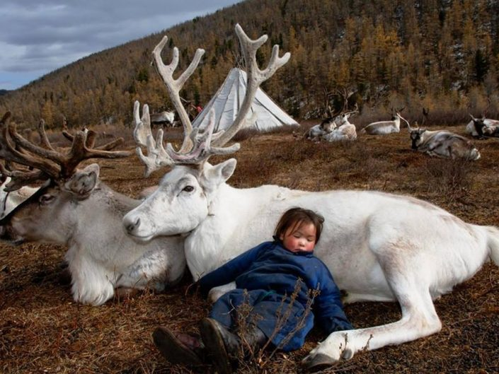 Photo by Hamid Sardar - Afkhami. Little tribe's child is sleeping peacefully outside resting on two elks