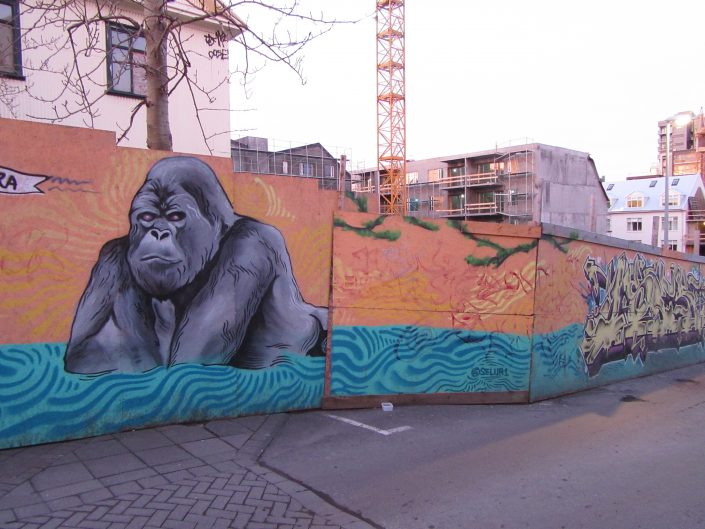 Street Art Painting of Gorilla in Reykjavik