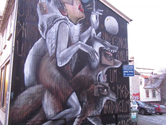 Street Art Painting of Weird Wolf Lady in Reykjavik