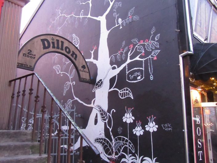 Street Art Painting of a Tree on the wall in Reykjavik, Iceland