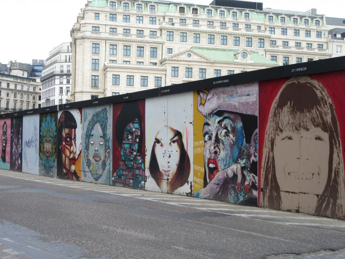 Collection of Street Art paintings of faces in Brussels, Belgium 2017