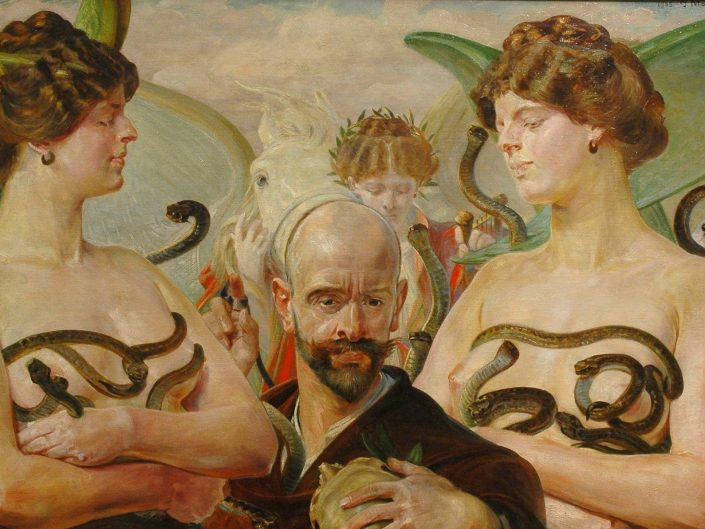 Jacek Malczewski - Self-Portrait Finis Poloniae. A man between two naked women whose breasts are covered by serpents