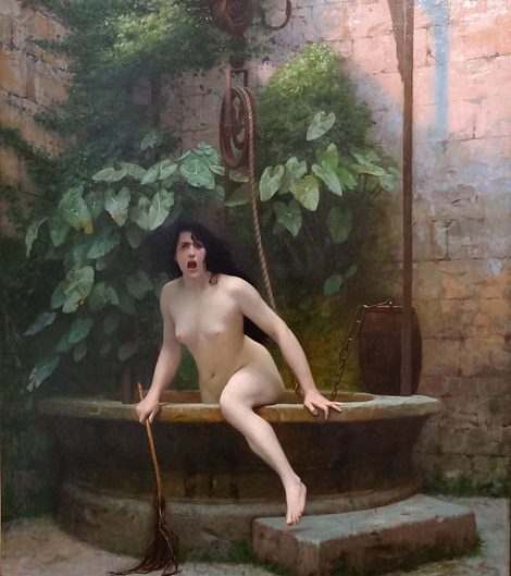 An oil painting by Jean Léon Gerome made in 1896, portraying naked women coming out of the well as a methaphor for naked truth in the legend.