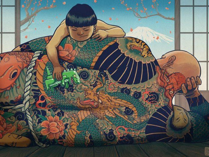 Mateusz Kołek - Yakuza Daddy. Japanese Child playing on his fathers all tattoo'ed body