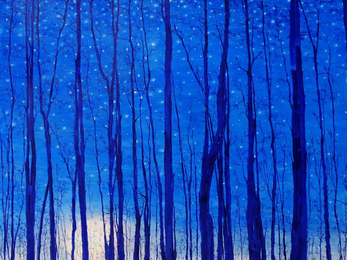 Painting by Rafał Borcz of treetops behind the starry sky